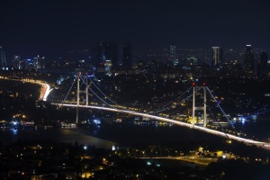 ciudad, noche, puente, paisaje urbano, Turquía, Estambul, en el centro