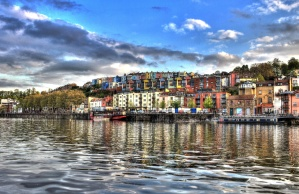 art, photomontage, city, river, boat, colors, house