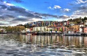art, photomontage, city, river, boat, colors, house