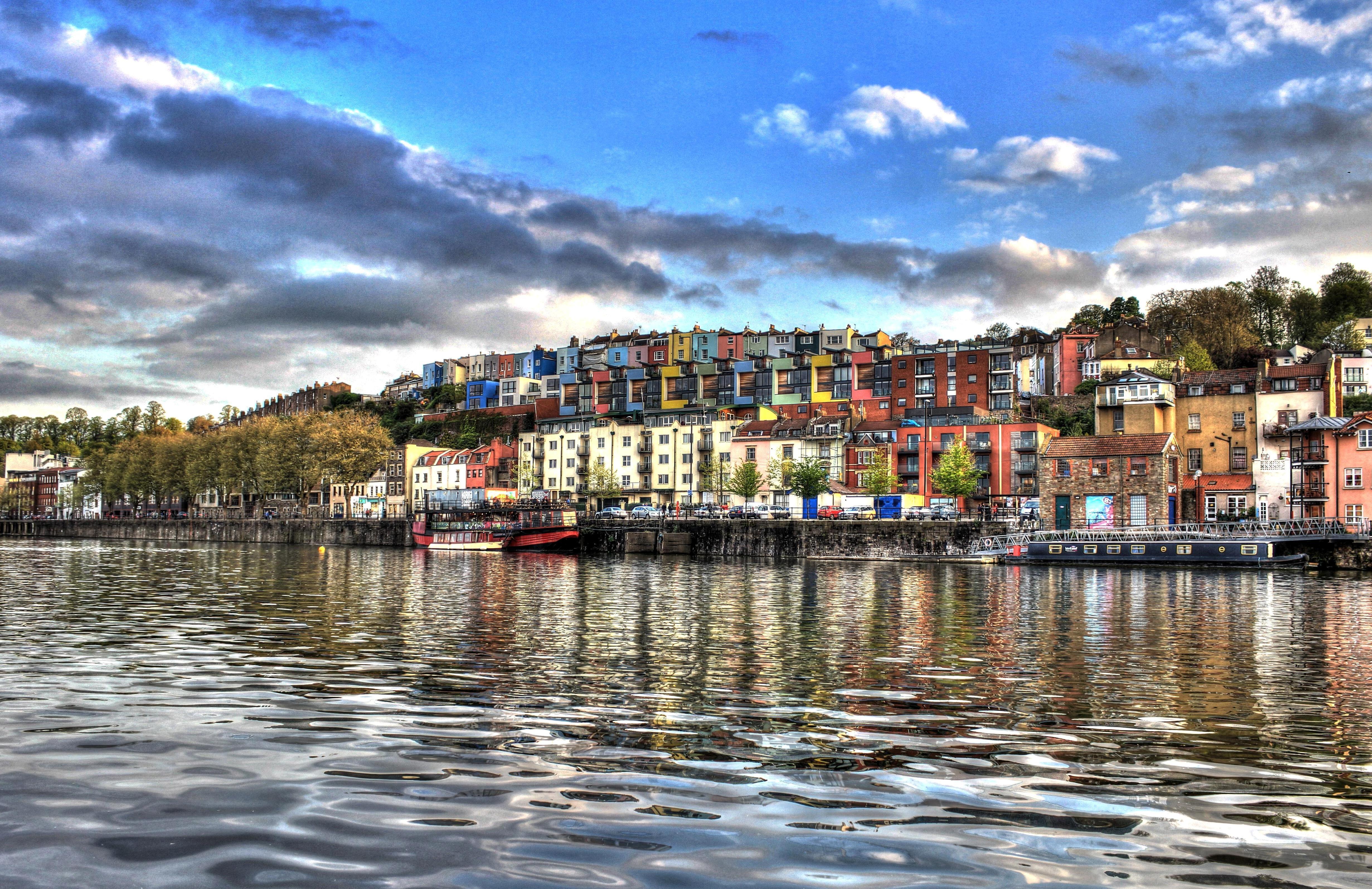 Kostenlose Bild: Kunst, Fotomontage, Stadt, Fluss, Boot, Farben, Haus