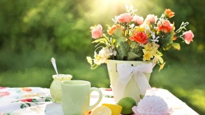 breakfast, tea cup, sunshine, table, morning, lemon, cake, lemons