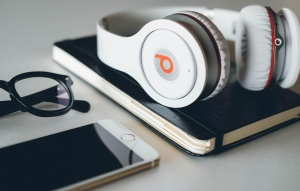 desk, music beat, glasses, mobile, device, sound, music, mobile