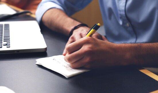 kancelária, notebook, pero, pracovné, písanie, poznámky, nápad, študent, pracovisko
