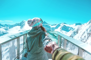 άνθρωποι, αναψυχή, χειμώνα, ρούχα, γυναίκα, βουνά