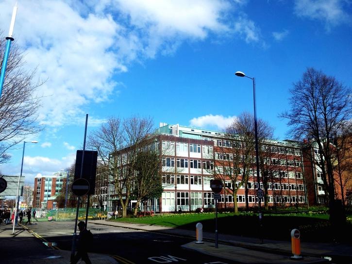 Szkoła, budynek, Uniwersytet, miasta, ulicy, niebo