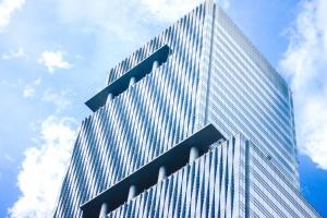 architecture, building, pillars, sky, skyscraper, blue sky