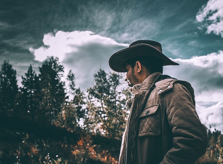 cowboy, man, forest, gloomy weather, hat, woods