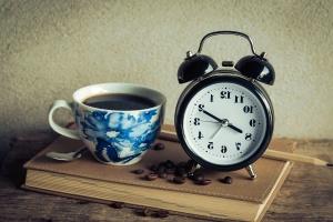 coffee, coffee cup, book, alarm clock, retro, antique, espresso, mug, notebook, pencil