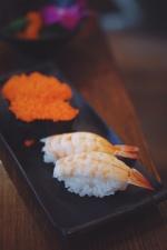 Japansk mat, lunsj, reker, sushi