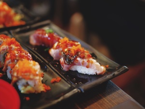 kjøtt, ris, sjømat, sushi, japansk mat, lunsj, diet