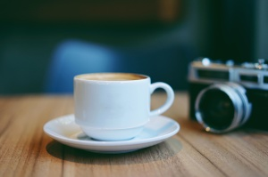 caffeine, camera, coffee cup, table, wooden table