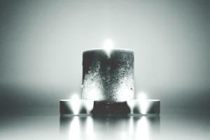 monochrome, candles, burn, wax