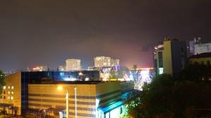 night, city, light, buildings, downtown