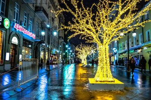 downtown, street, lights, city, street, lamps