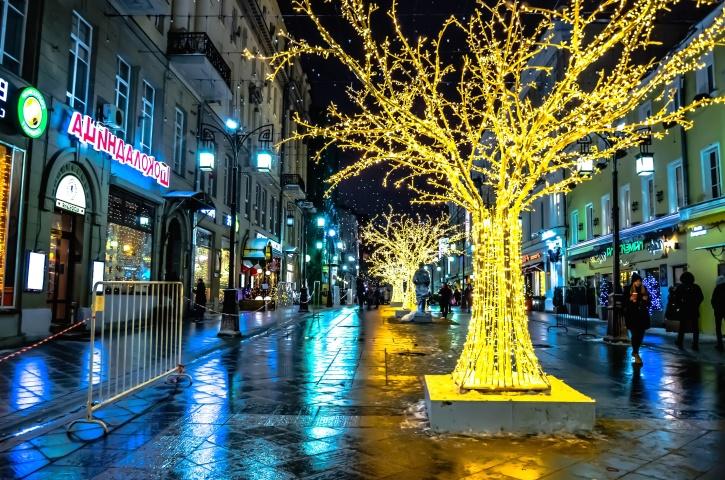 centro, strada, luci, città, via, lampade