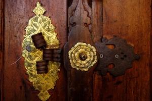 骨董品、工芸品、ドアハンドル、宮殿、イスタンブール, トルコ, 古い金