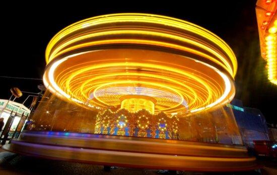 attraction, lumières, nuit, amusement, centre, ville