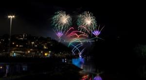 New Year, celebration, night, bridge, river, fireworks