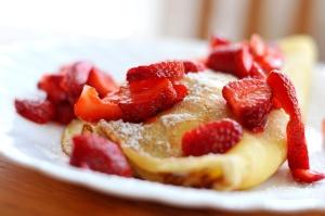 frutas, café da manhã, morangos, frutas, placa, dieta, alimento