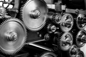 gears, cogs, machine, machinery, mechanical, printing press