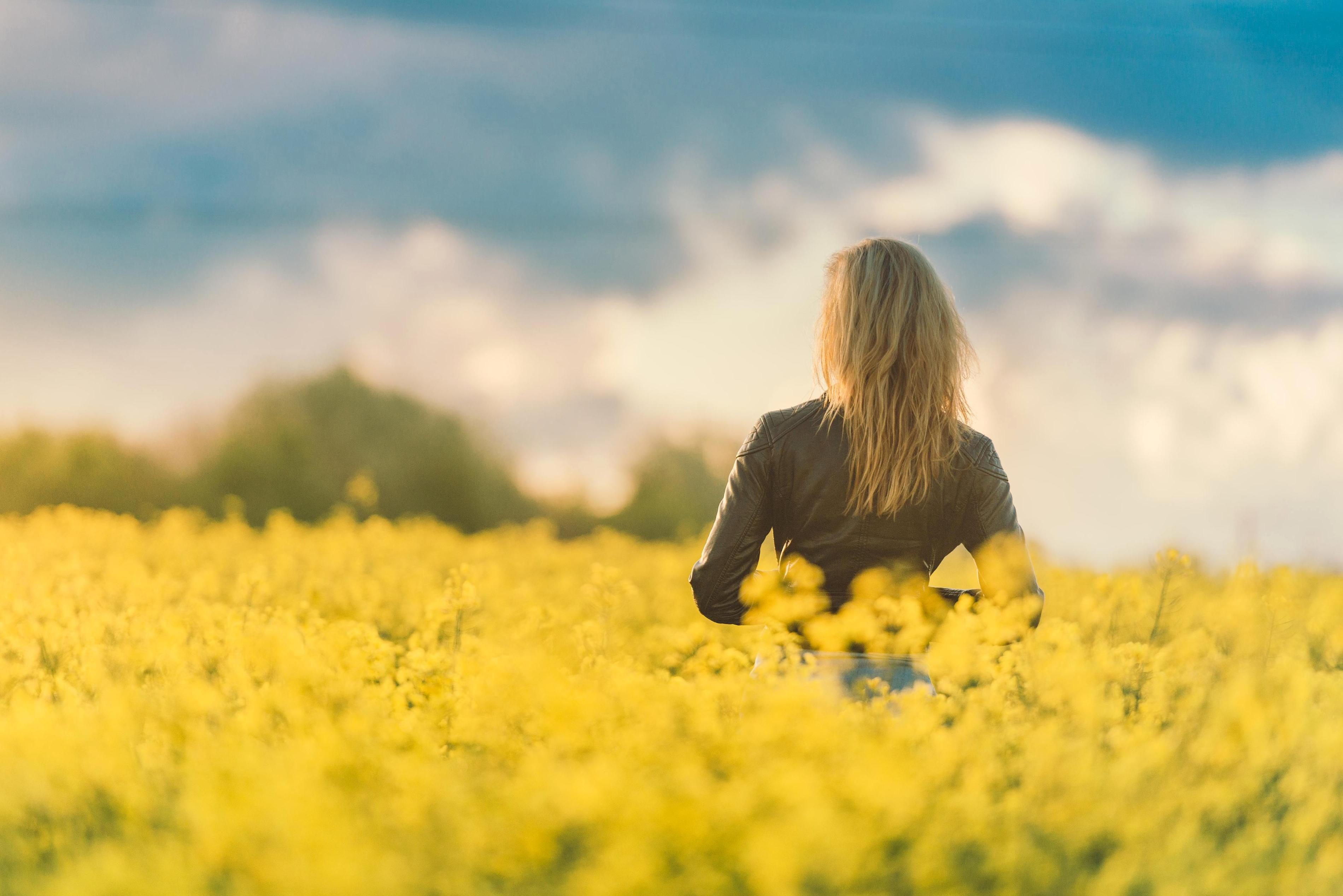 Free Picture Girl Crops Field Summer Flowers Yellow Beauty