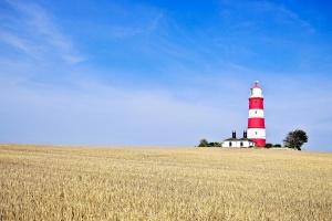 crops, field, lighthouse, summer, blue sky