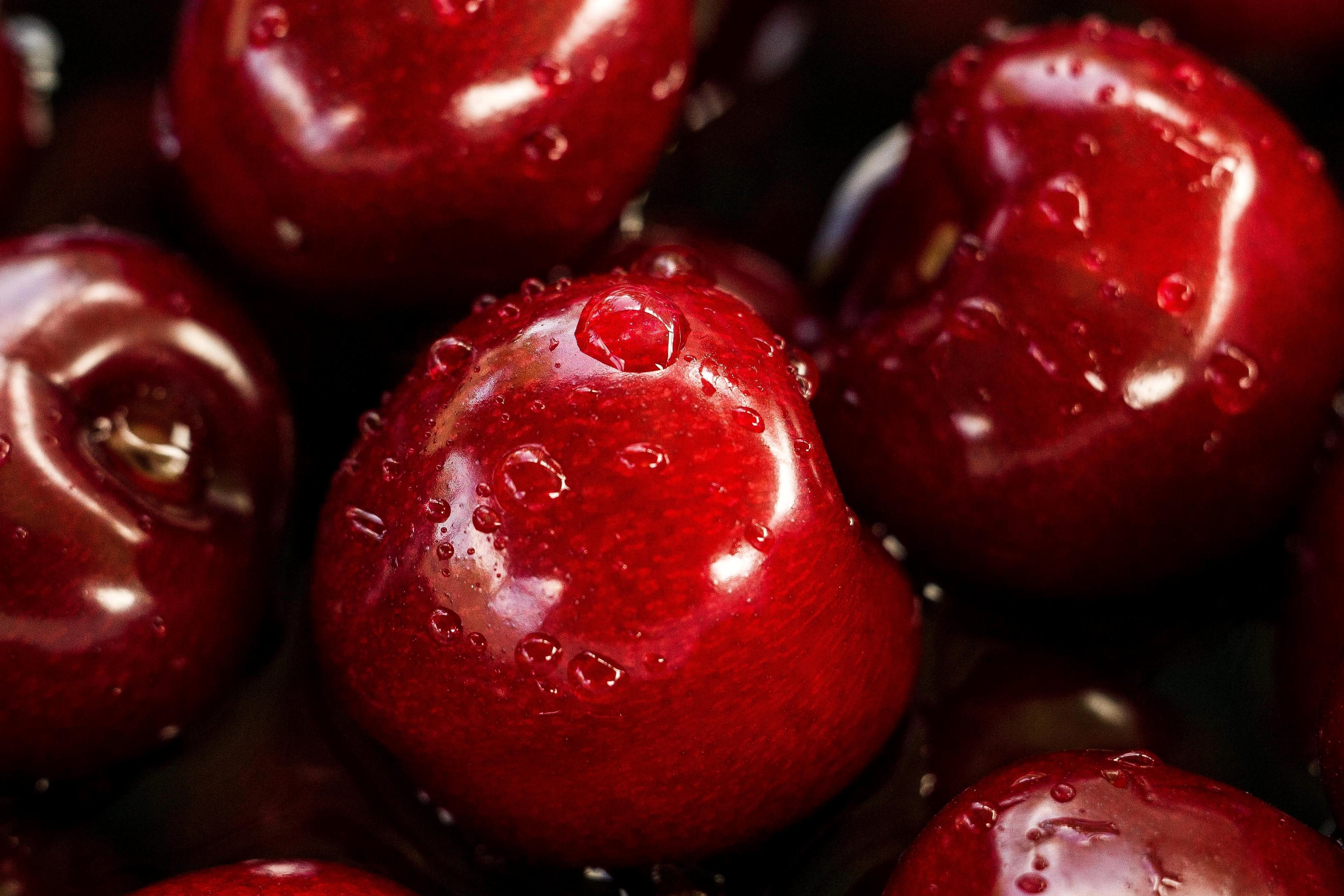 Free Picture Cherry Red Fruits Water Drops Cherries