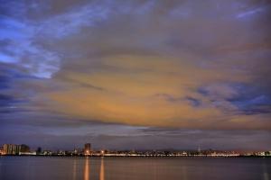 reflection, river, sea, skyline, lights, dusk, clouds, nature