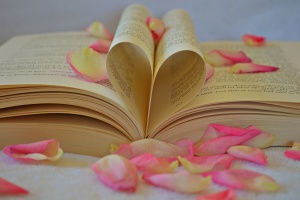 Valentine's day, book, romantic, love, literature, petals