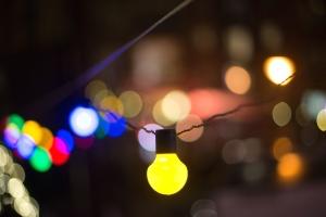 art, blur, bulbs, celebration, shining, yellow