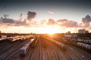 sunset, tracks, trains, transit, transport