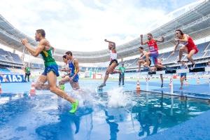 atletica, atleti, corsa, corsa, schizzo, sport, stadio, pista, acqua