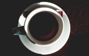 coffee mug, coffee, hot, mug, porcelain, saucer