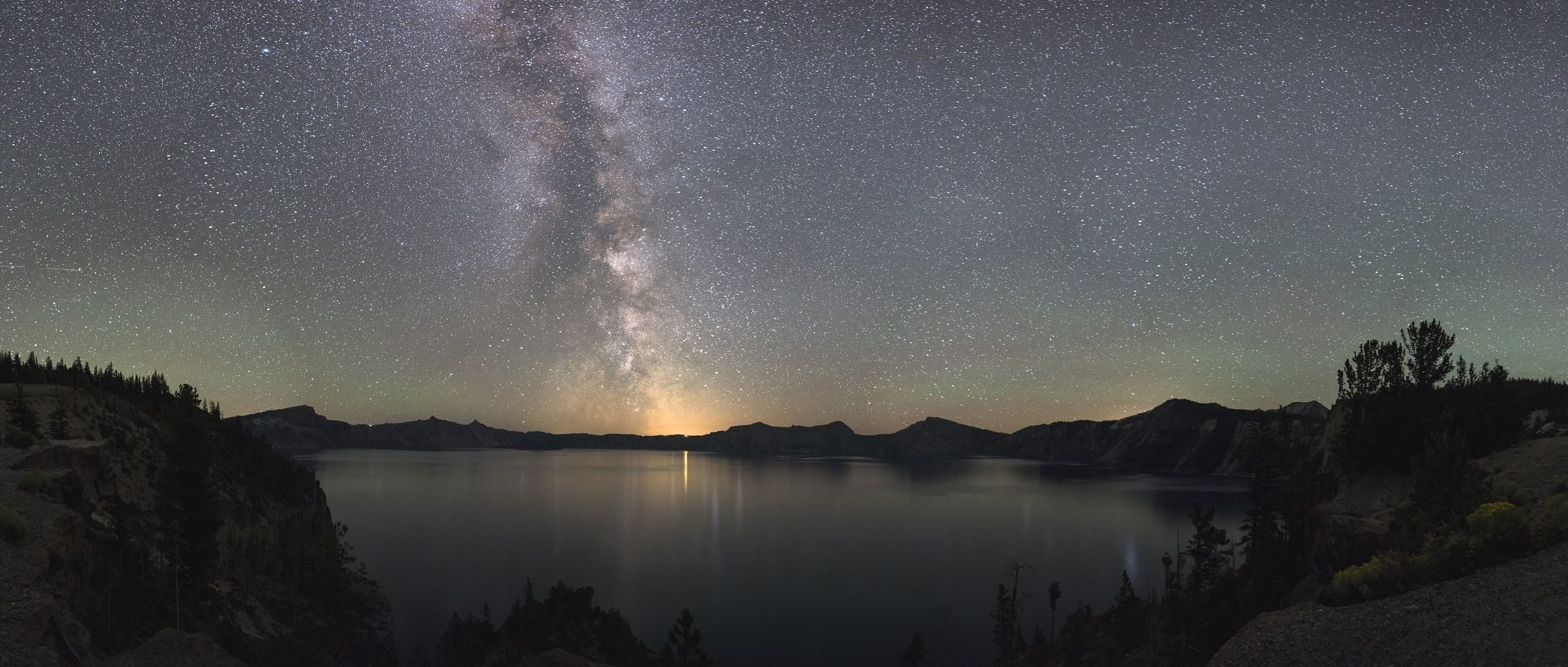 Free Picture Cosmos Crater Lake Astronomy Galaxy Night