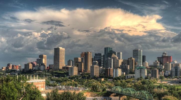 sky, clouds, downtown, city, sunrise, sunset, skyscraper, travel, urban