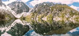 reflection, rocks, mountain, water, snows