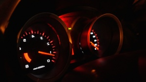 automobile, car, night, dashboard, instrument, odometer, speed