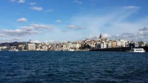sea, Turkey, boat, travel, tourism, blue sky, bridge, town, overlooking, city