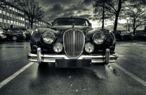 古今之争车, 黑色, 白色, 豪华, 丰富, 街道, oldtimer