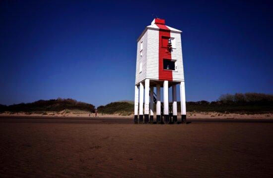 phare, tour, crépuscule, plage, mer, sable