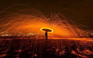 man, fire, person, night, artist, sparks, burning, magician, steel wool