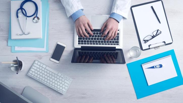 doctor, office, laptop computer, smartphone, notebook