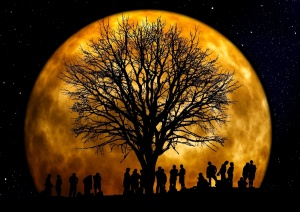 Moon, photomontage, people, art, tree, group, monlight, dark, nature