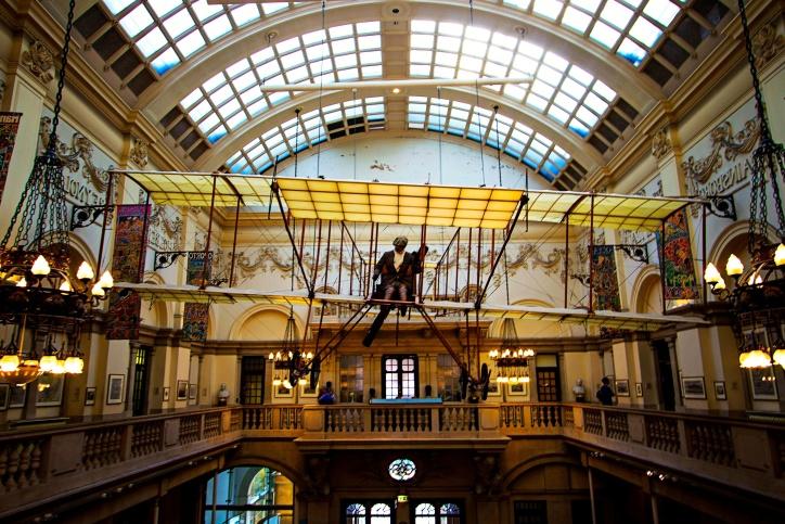 Museum, fly, interiøret, luksuriøse, moderne kunst