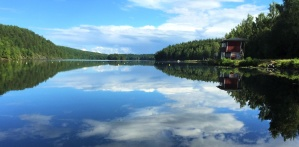 nature, blue sky, water, forest, trees, lake, reflection, nature
