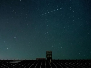 night, shooting star, stars, space, heaven, roof, urban
