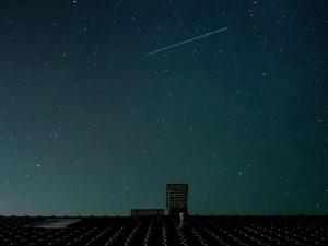 night, shooting star, stars, space, heaven, roof, urban