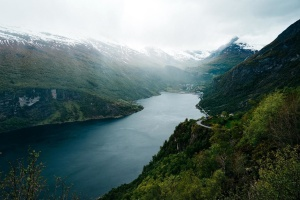 paisible, brouillard, paysage, montagnes, rivière, nature, été, mer