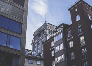 skyscraper, street, window, apartment, architecture, buildings, town, street, city, exterior, downtown