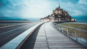 castle, road, blue sky, fence, sky, wooden floor